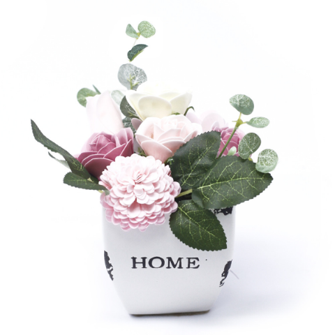 Peaceful Pink Soap Bouquet Petite Flower Pot